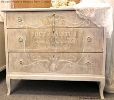 A dresser beautifully finished with Modern Masters Metallic Paint Collection | By Swea Hantverk