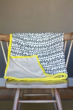 DIY: Simple Spring Throw Blanket. With velvet trim! You should totally make this.