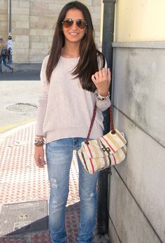 H in Sweaters, Purificacion Garcia in Bags, Stradivarius in Jeans
