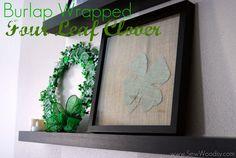 Burlap Four Leaf Clover