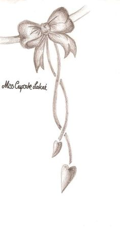 Bow Tattoo Design but with heart in middle, strings not as long, and key in middle of heart on top. with miss tiffany on side
