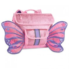 This sparkly pink butterfly wings backpack by Bixbee is perfect for your little girl!  Perfectly sized for a preschooler or kindergartner, this imaginative, award winning backpack features the unique, horizontal Bixbee design.  The cover flap pocket opens