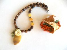 Amber Pendant  Brown Glass Beads  Jewelry  Necklace  by GULDENTAKI, $42.00  #jewelry  #necklace #handmadejewelry #brown  #yellow #women fashions