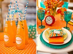 Loving the BRIGHT colors, candy and soda pop at this wedding