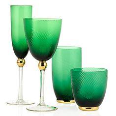 emerald + gold glassware