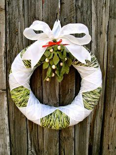 Christmas Wreath, Under The Mistletoe Wreath. $70.00, via Etsy. (I want to copy cat it!)