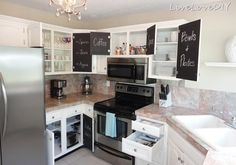 Amazing ways to update your kitchen using only paint! So many great ideas in this post! - Love the chalkboard paint inside the doors!