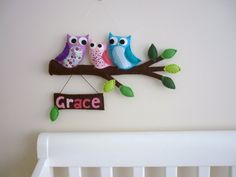 Felt owls in tree