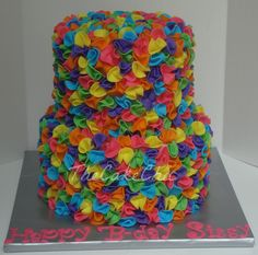 Multi colored ruffle cake. So cute!