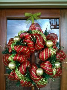 Love how the glass balls give it pizzazz!! christma wreath, christmas wreaths, front door wreaths, whimsical christmas, front doors, christma craft, decor on the door, for the front door, season decor