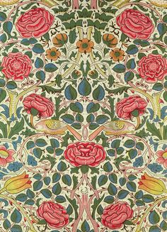 Rose textile design by William Morris, 1883. Printed cotton   Private Collection / The Bridgeman Art Library