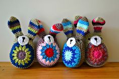 crochet easter bunny. with striped ears.  from a granny circle. free pattern.  thegreendragonfly.