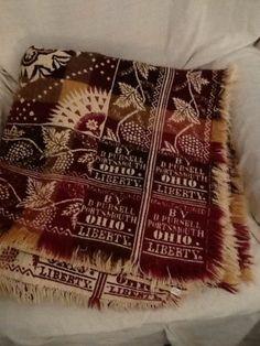 Antique Wool Cotton Jacquard Double Woven Coverlet Pre Civil War Portsmouth Oh | eBay