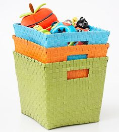 Great ideas for moms with children who love to play with their things ALL over the house.