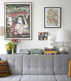 Grey Couch- love the idea of having the shelf behind the couch... Good space saver in a small lounge room