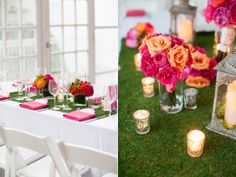 green and pink wedding