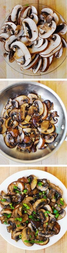 Mushrooms sauteed with garlic in olive oil and topped with green onions (or chives). Simple, delicious #vegan side or topping for veggie burger, sweet potato etc.
