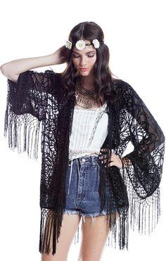 Black Potion Fringe Kimono - Saltwater Gypsy #saltwatergypsy