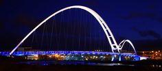 The Infinity Bridge located in the borough of Stockton-on-Tees in England. bridg locat, infin bridg