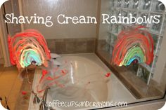 Shaving Cream Rainbows!  A fun preschool sensory activity and color mixing activity from Coffee Cups and Crayons.