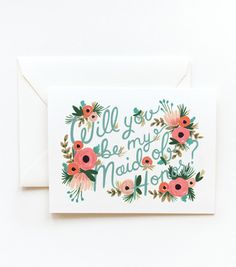 Will you be my Maid of Honor? card.
