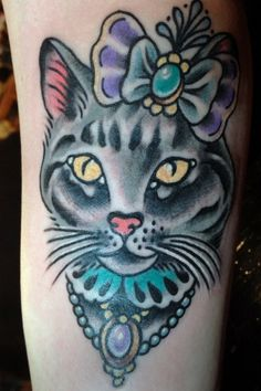 Fancy Cat Portrait Tattoo