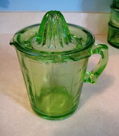 Green Depression Glass Measuring & Mixing Cup Reamer Juicer