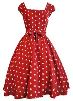 Red Wine Polka Dot Swing Dress in Sizes 8-22. Only £40
