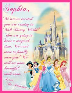 Welcome from Princesses - before coming