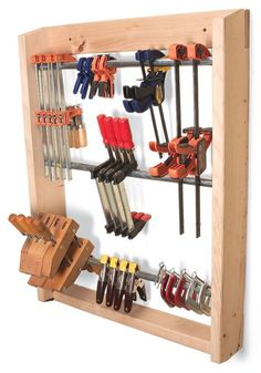 Quick and easy clamp rack, wall mounted.