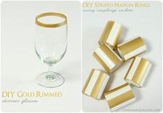 The House of Smiths - DIY Gold rimmed dinner glasses and striped napkin rings