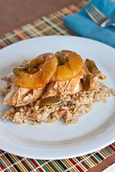 Crock Pot Hawaiian Chicken make with rice & veggie.  okay (chunked pineapple & juice)