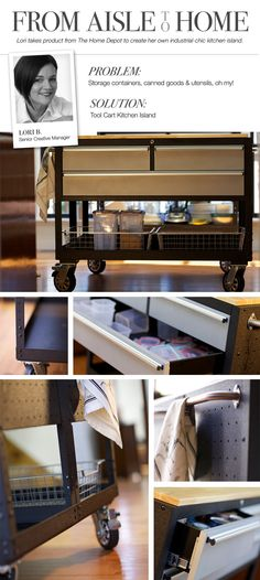 From Aisle to Home: Lori shows how she turned a tool cart from @Home Depot into her kitchen island. #DIY