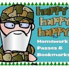 """Make your students """"HAPPY! HAPPY! HAPPY! with No Homework Passes and Bookmarks featuring the Robertson clan.   """"It's a fact, Jack!"""""""