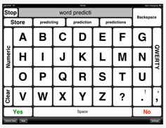 iMean, $4.99, provides word suggestions with alternative keyboard available and text to speech. Copy text into word processor or note taking apps.