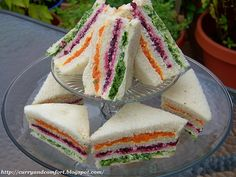 Ribbon Tea Sandwiches - vegetarian sandwiches consist of carrots, beets and green leaf lettuce