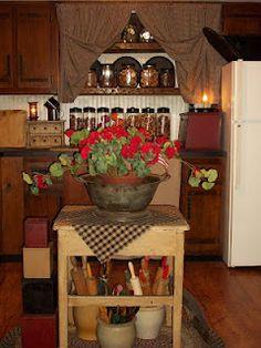 Prim Kitchen...love the curtains.  Timeworn Primitives. kitchen utensils, open shelves, prim kitchen, cozy kitchen, wood shelves, primit kitchen, vintage kitchen, summer kitchen, craft rooms