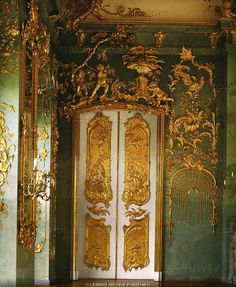 BAROQUE ORNAMENT 18TH  Eosander,Johann Friedrich,architect  Door with magnificent gilded stucco-work, Golden Gallery, Charlottenburg Palace (18th).  Charlottenburg Palace, Berlin, Germany