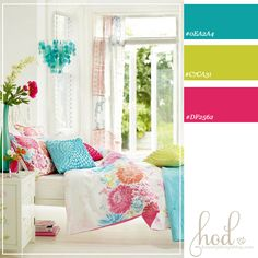 Color Schemes | bright-bedroom-color-scheme Love the colors, especially when you can't paint the walls!!