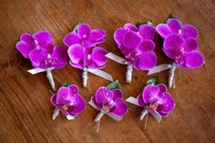 Love these vibrant purple boutonnieres - photos by Catherine Hall Studios | junebugweddings.com