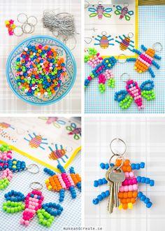 av pärlor, nyckelringar av, creat, bead keychain, perler beads, diy, poni bead, kid craft, bead crafts