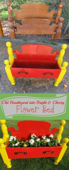 Old headboard into a bright & cheery flower bed - Love the colors!