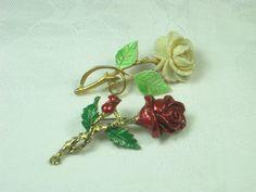 Vintage Rose Brooch Set/2 Roses Enamel Pin by LavenderGardenCottag