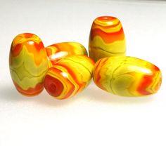 Lampwork Bead Set  5 Zesty Barrel Beads  Handmade by ZenArtGlass, $30.00
