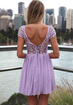 Such a pretty lilac lace dress.