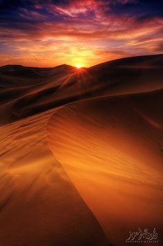 Sunset in the desert, Saudi Arabia