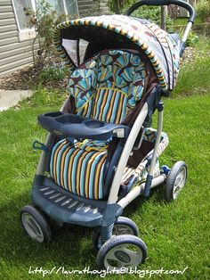 How to re-cover a stroller- this is a great idea if you use the same stroller for every baby.