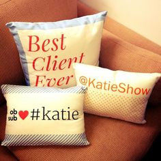 Personalized pillows that look like our site! So cool!