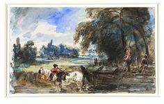 A barge on the Stour, John Constable, about 1832