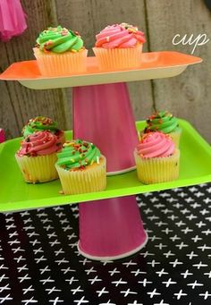 Graduation cup and plate cake stands!  See more party ideas at CatchMyParty.com!